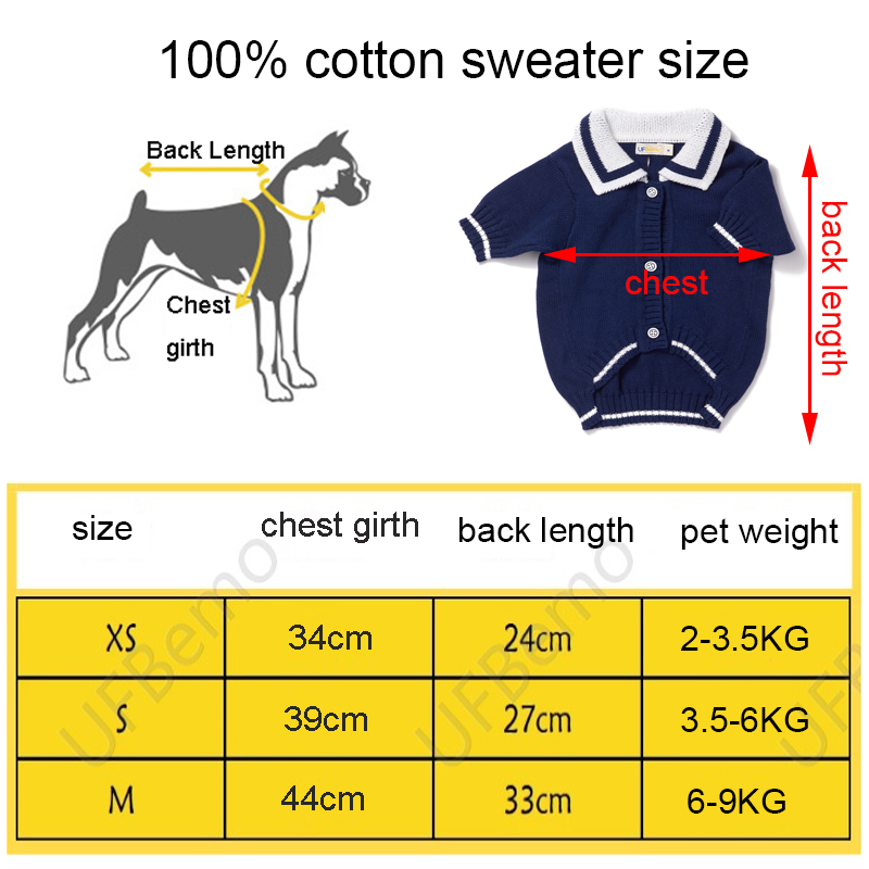 dog sweater size