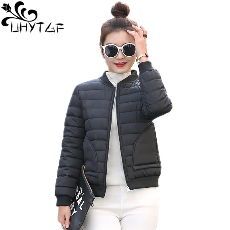 UHYTGF Winter Jacket Women Coat Short Female Slim Cotton Padded Basic Tops Plus Size Women Down Cotton Parka Thin Outerwear X547