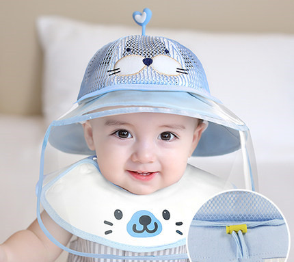 Baby Infant boy Girl Sun Hat summer mesh Cotton Children Kids Bucket Cap Eye Face shield Protection mask  removable Anti-saliva 2