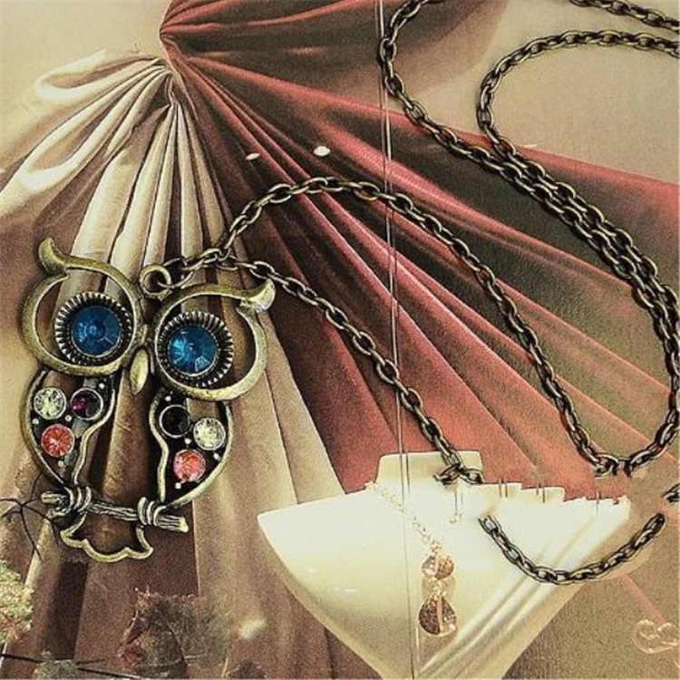Сплав корейской версии ювелирных изделий корейской версии ретро цветная дрель полые резные милые сова ожерелье