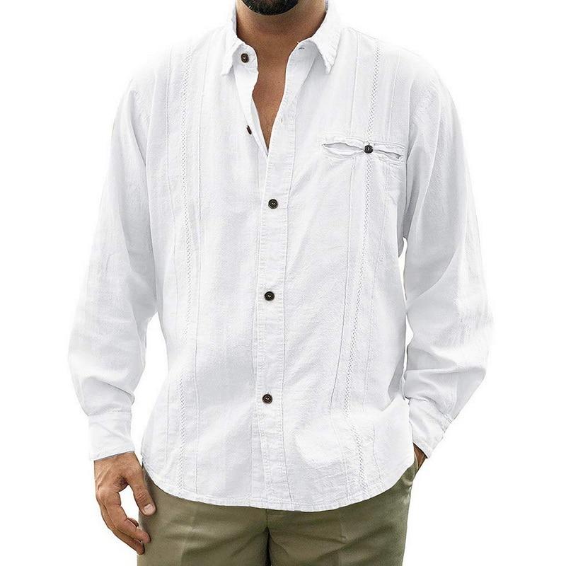 Shujin Mens Loose Fit Cuban Camp Guayabera Linen Shirts Casual Button  Beach Shirts M-3XL Loose Solid Color Long Sleeve Shirt
