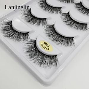 Image 4 - LANJINGLIN – Faux cils en vison naturel, effet 3D, 5 paires, 10/100 boîtes, extensions longues, vente en volume