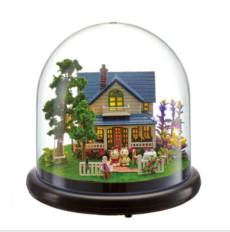 DIY Miniature Glass Ball Doll House Model Forest Building Kits Creative Wooden Dollhouse Furniture Toys Birthday Gift Hand Craft 2