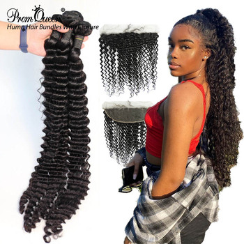 Promqueen Deep Wave Bundles With Frontal Peruvian Human Hair 3 Bundles With Lace Frontal Deep Wave Hair image