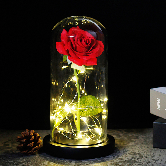 2019 Beauty and the Beast Red Rose in a Glass Dome on a Wooden Base for Valentines Gifts