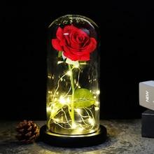 2019 beleza e a fera rosa vermelha em um domo de vidro em uma base de madeira para presentes do dia dos namorados