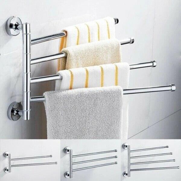 bathroom stainless steel swivel 2 3 4 swing arm towel holder bar rails rack wall wall mounted movable towel rod bathroom storage