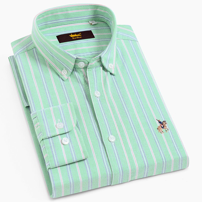Men's Bold Striped Long Sleeve Oxford Cotton Shirt With Embroidered Logo Standard-fit Comfortable Casual Button-down Shirts