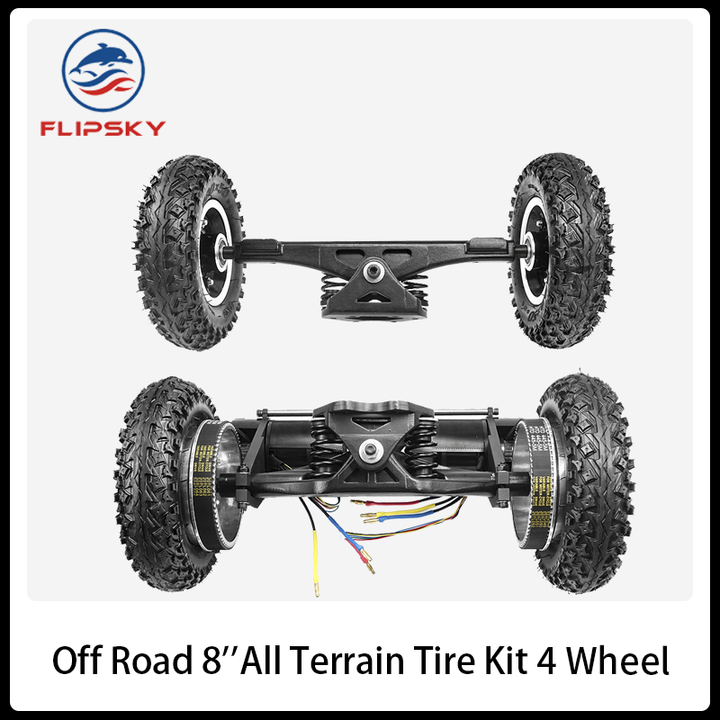 Electric Mountain Skateboard 4 Wheel Off Road ESK8 8'' All Terrain Tire Kit 11'' Truck and Two 6374/6354 1650W Belt Motor image