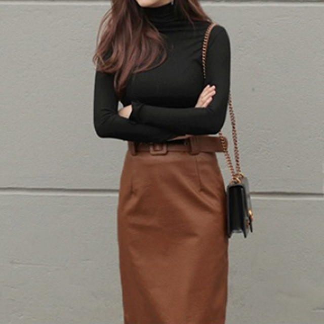 Pure Color panie Casual T koszula moda długi rękaw długa koszula na szyję Slim Harajuku czarny i biały cały mecz góry