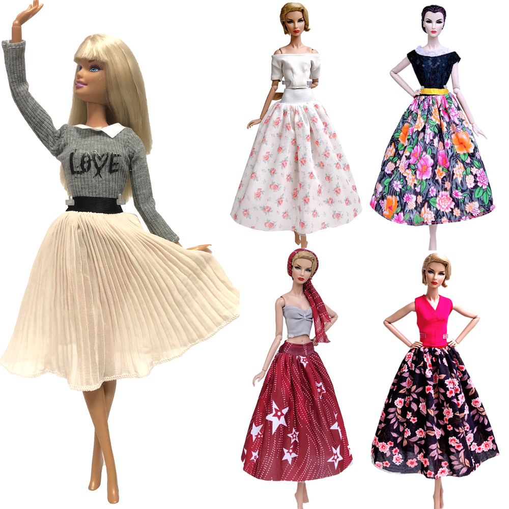 NK Mix Style Princess Dress Doll Clothes Fashion Model  Skirt Party Handmade Gown For Barbie Doll Accessories Girl Toys  Gift JJ