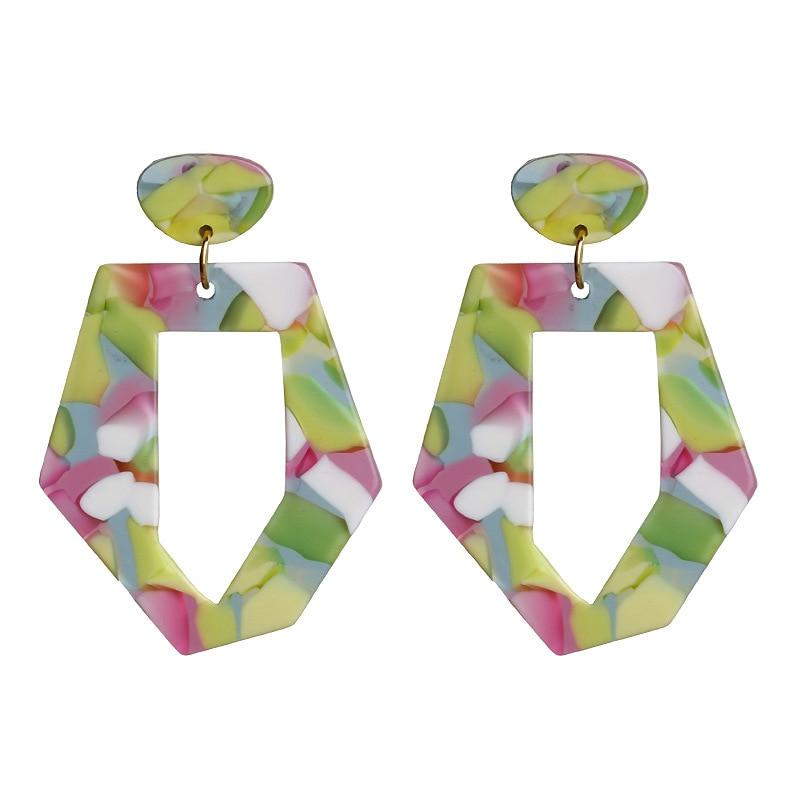 2019 Multicolor Resin earrings Big Statement geometric personality Dangle earrings simple fashion girl pendientes mujer
