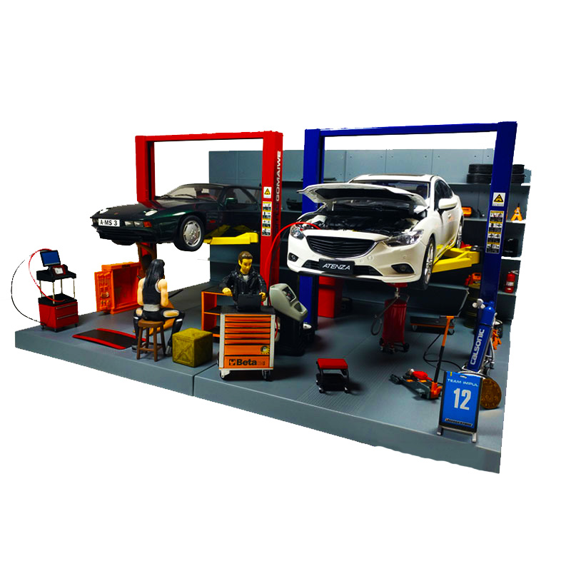 1/18 Scale Car Model Repair Scene Simulation Decoration Diecast Alloy Lift Elevator Vehicle Toy Accessories Fans Gift Collection