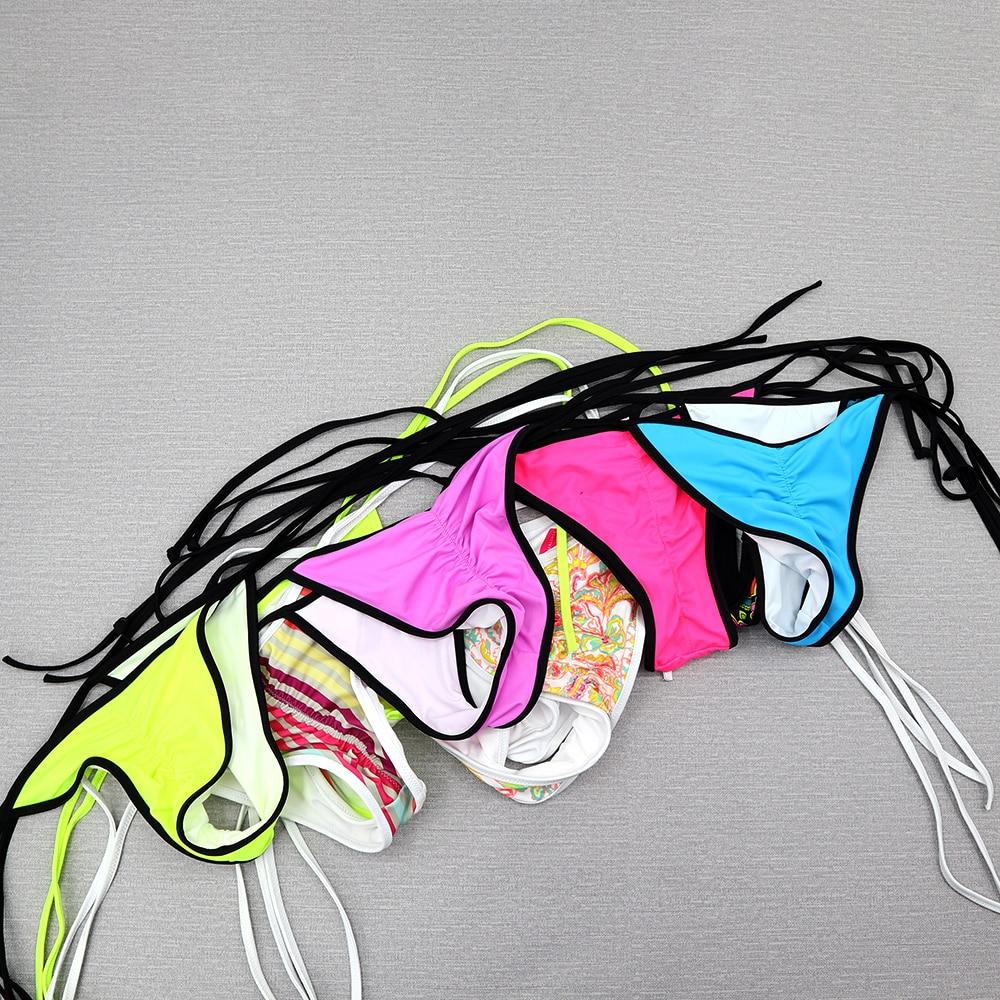 Women T-back Bikini Bottoms Thong Sexy Swimsuit Vintage Swimwear Cheeky Brazilian Biquini Womens Secret Bikinis Bottom bandage 1