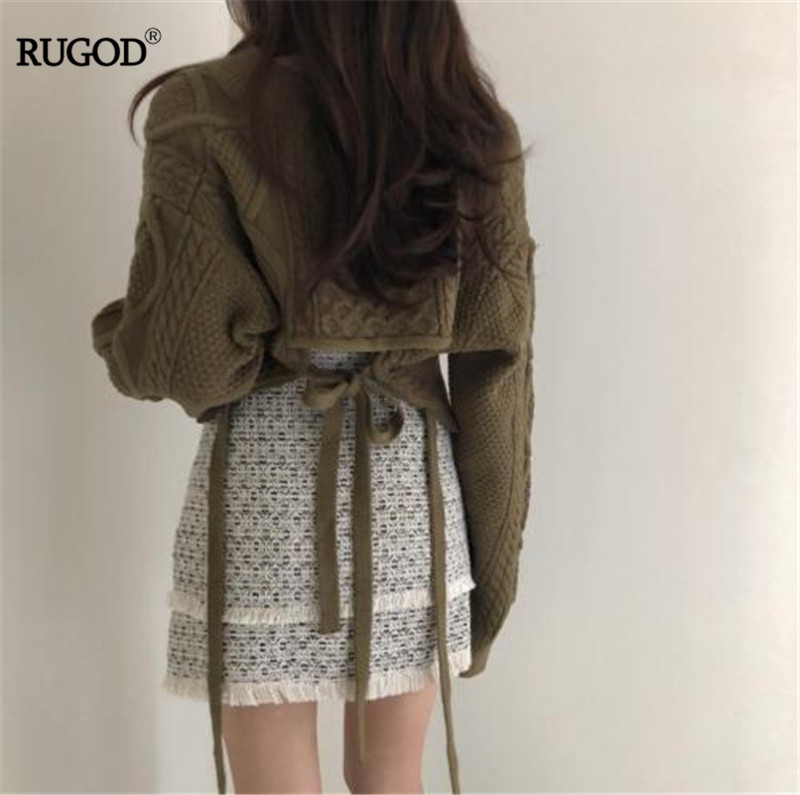 RUGOD V-neck Sweater Women Bandage Solid Long Sleeve Twist Cashmere Sweater Mujer Korean Style Fashion 2019