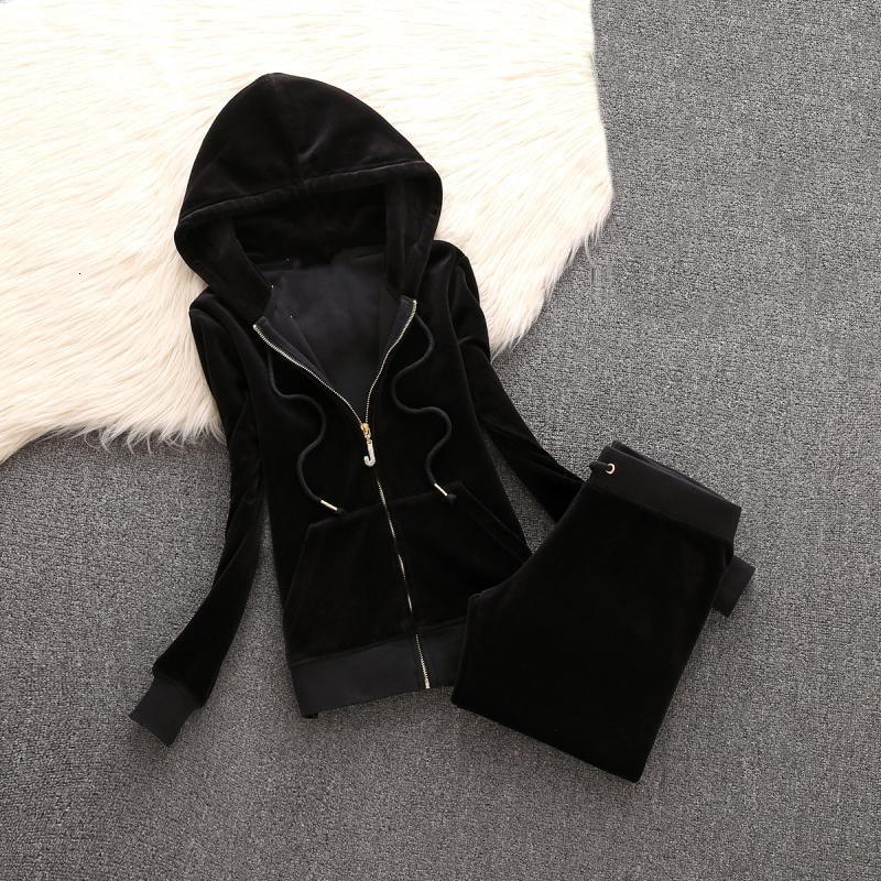 2 piece set women plus size large Velvet Fabric Tracksuit  pant suits Velour Suit Women Track Suit Hoodies And Pants black