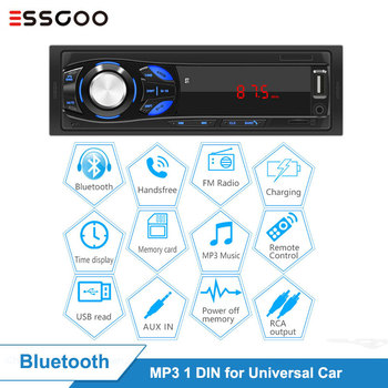 Essgoo 1 Din Car Radio Bluetooth Stereo LED Screen FM Aux Input Mp3 USB AUX IN Player 32GB TF Card Optional 1din