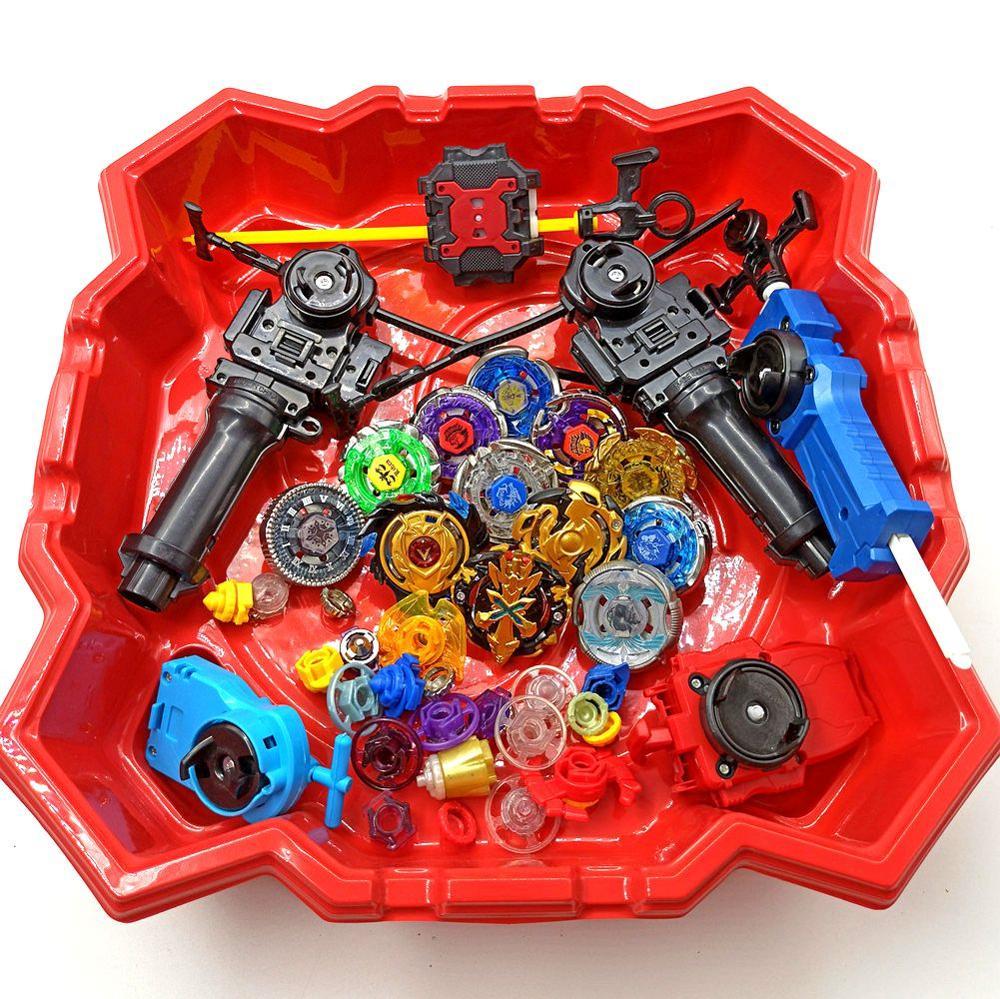 Free Shipping 12pcs Beyblade Burst +6pcs Launcher+2pcs Handle Bar+1pcs Red Beystadium Spinning Top as Children Day Gifts