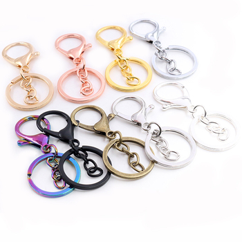 5pcs/lot 30mm Chain Key Ring Long 70mm Popular classic 8 Colors Plated lobster clasp key hook chain jewelry making for keychain