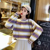 Women Skirt Loose Full Sleeve Striped Sweater In A Languid Is Lazy Wind Pullovers + Rainbow Skirts Purple Blue Apricot Cloth 835