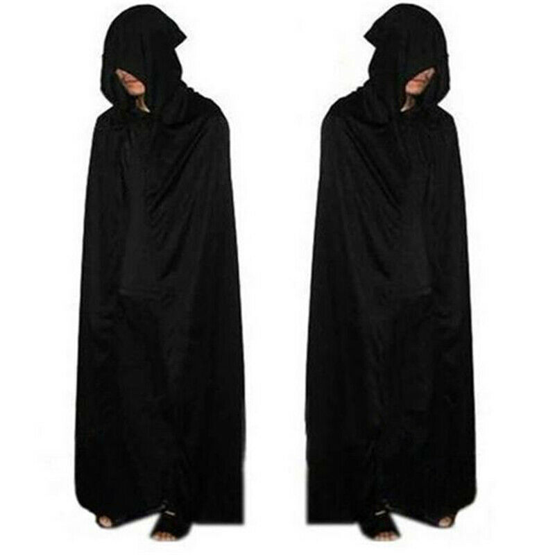 Halloween Hooded Cape Adult Unisex Party Cosplay Solid Long Cloak Black Costume Dress Coats Gifts