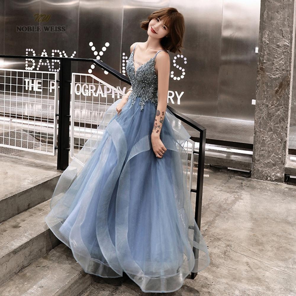 Prom Dresses Sexy V-neck A-line Floor-length Tulle Appliques Prom Dress Bare Back Cheap Prom Gown Robe De Soiree Party Dress