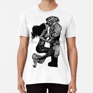 My Underwater Love T Shirt Linocut Mermaid Diver Kiss Linoprint Linogravure Love Valentines Beach T-shirt Men Cotton Tshirt Tees(China)