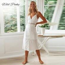 Wildpinky oco para fora profundo decote em v laço branco emendado verão vestido feminino férias praia sexy vestido sem mangas elegante midi vestidos
