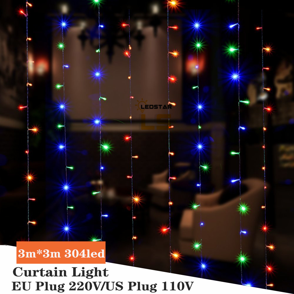 Christmas Garland LED Curtain Lights 3x3M LED String Fairy Lights Outdoor Holiday Party Wedding Decoration EU/US Plug Lamp Chain