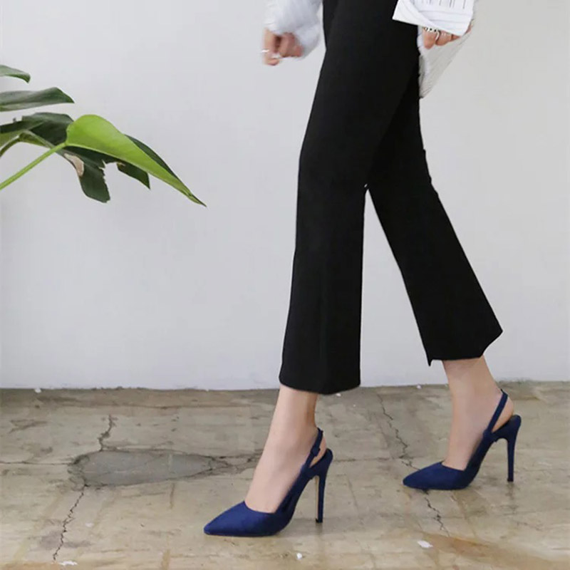 QSR PUMPS 2019 Stylish Chic Navy Blue/Yellow Dress Pumps Korean Style Shallow Buckle Hollow Ladies High Heels Office Shoes