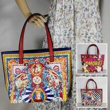 İtalya lüks baskı seyahat omuz çantası çiçek dokulu deri alışveriş çantası büyük Tote çanta ünlü marka çantası kadın kız çanta