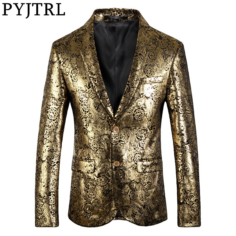 PYJTRL Blazer Men Luxurious Rose Gold Pattern Slim Fit Dress Blazers Party Prom Suit Jacket Singers Clothing