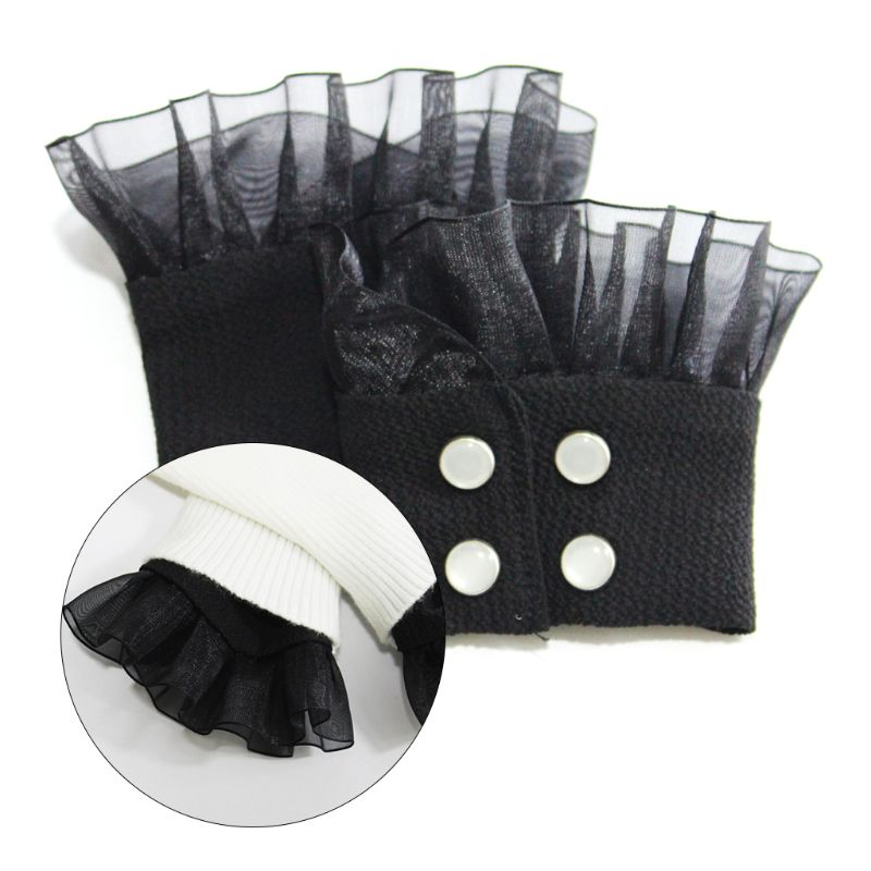 Women Vintage Knit Elastic Sweater Fake Sleeve Ruffles Lace Detachable Cuffs