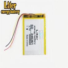 3 linha 345361 3.7v 1500mah 355060 bateria recarregável li po do polímero do lítio para mp3 mp4
