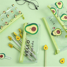 Pencil-Cases Stationery Storage Avocado Small Pen-Bags School-Supplies Transparent Office