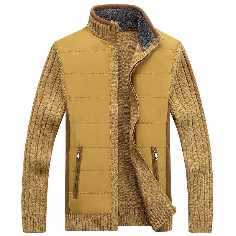 New Autumn Winter Sweater Men Patchwork Windbreaker Thick Warm Cardigan Men Stand Collar Warm Knitted Wear Mens Sweaters