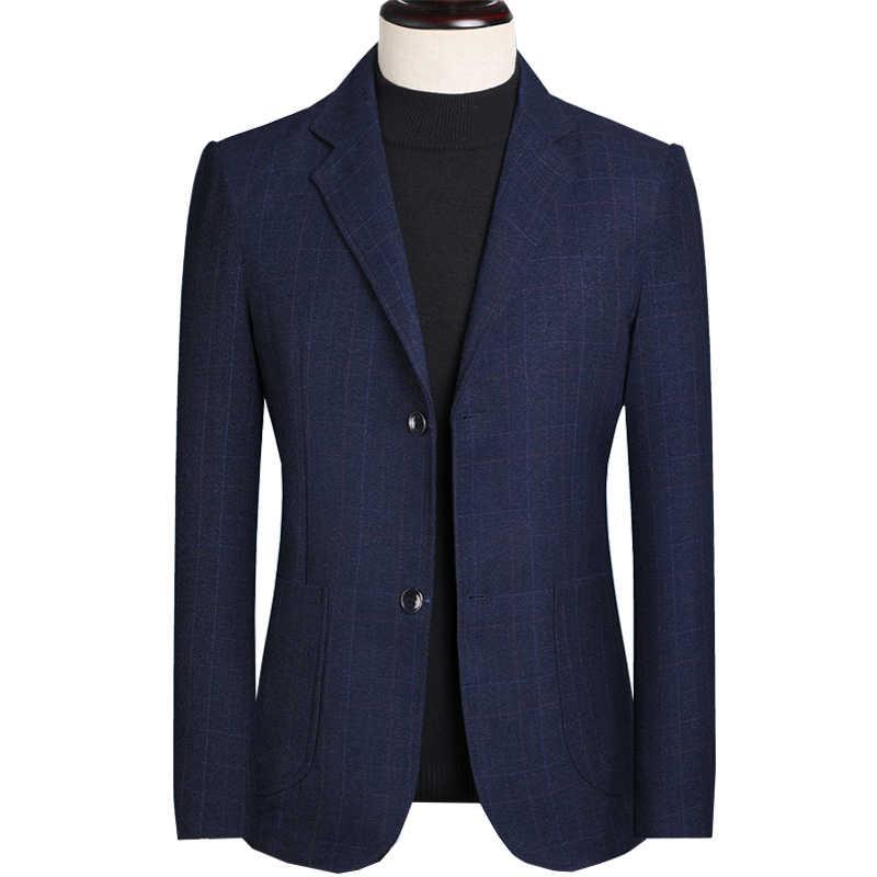 MarKyi 좋은 품질 블루 솔리드 컬러 코튼 남성 블레이저 자켓 남자 싱글 브레스트 남자 슬림 블레이저