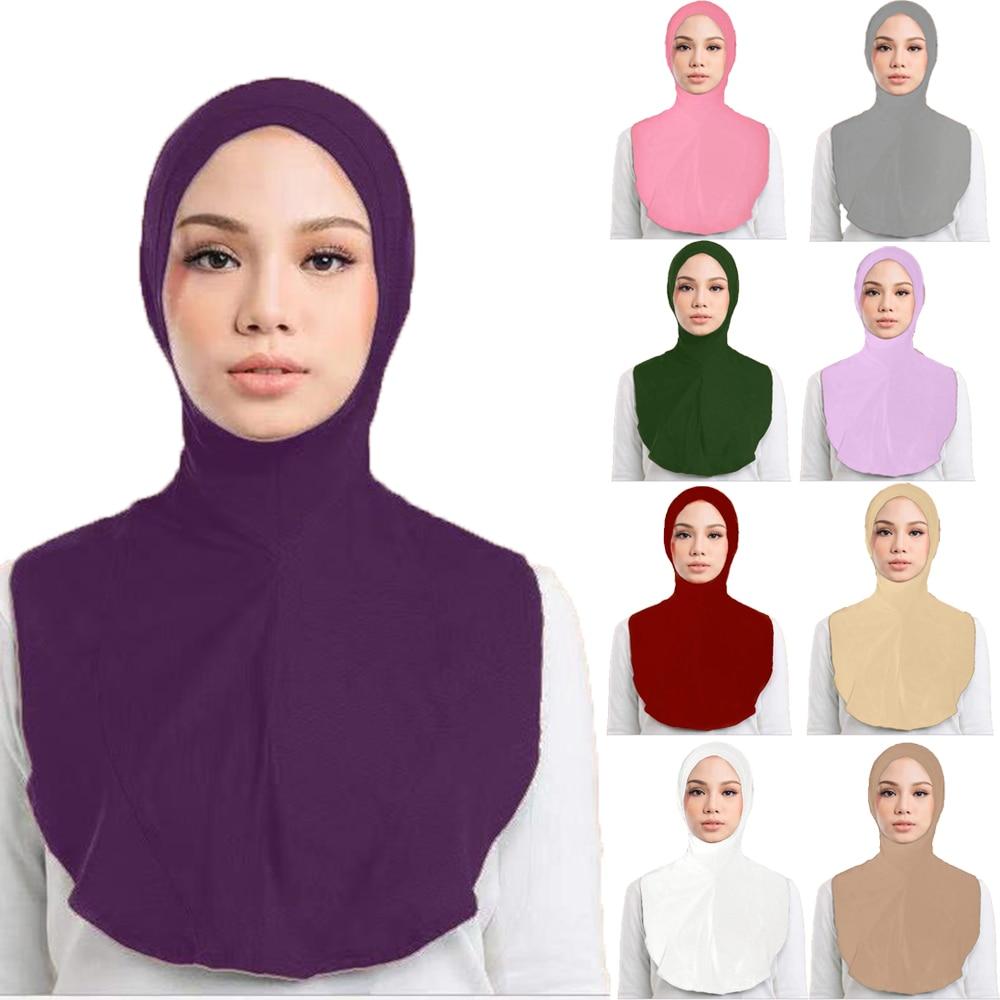 One Piece Women Muslim Large Prayer Hijab Scarf Amira Full Cover Niqab Bone Bonnet Turban Hat Islamic Arab Underscarf Headwear