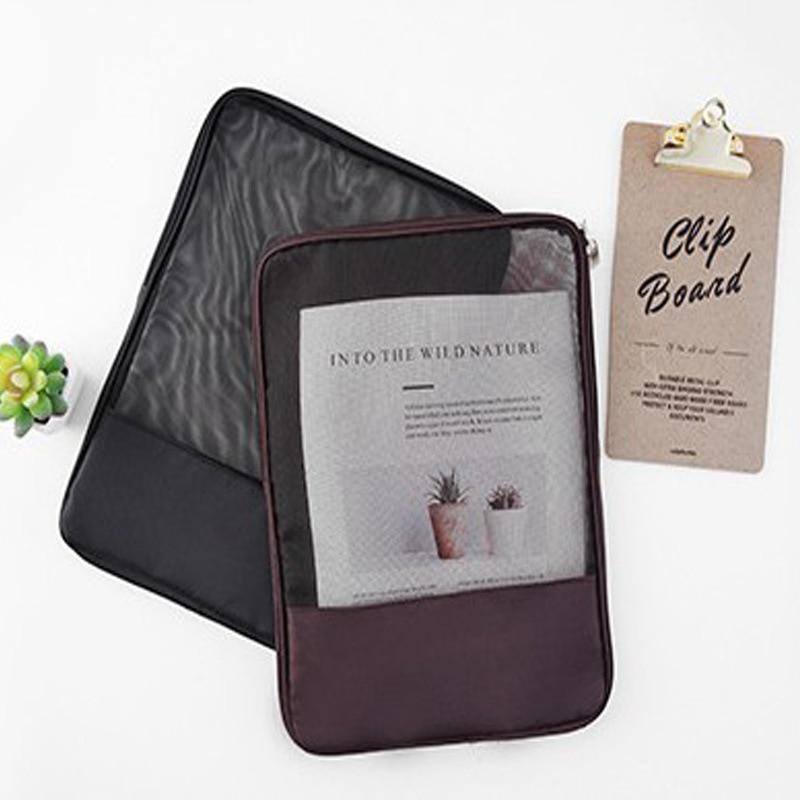 Grid Translucent Zipper Data Bag Student Exam Special File Bag Pencil Bag Stationery Book Storage Bag