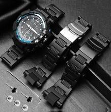 פלדת פלסטיק Wathband עבור Casio GW A1100 GW 4000 GA 1000 G 1400 שעון רצועת שעון צמיד Mens ספורט שעוני יד להקת כלים
