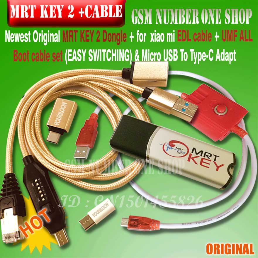 2020 original MRT KEY 2 Dongle + for GPG xiao mi EDL cable +UMF ALL Boot cable set (EASY SWITCHING) & Micro USB To Type-C(China)