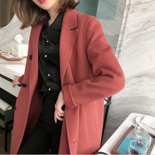 New Fall and Winter Plus-size Office Ladies Long Suits Korean Version with Velvet Lady Sweater Coat Warm Dress for
