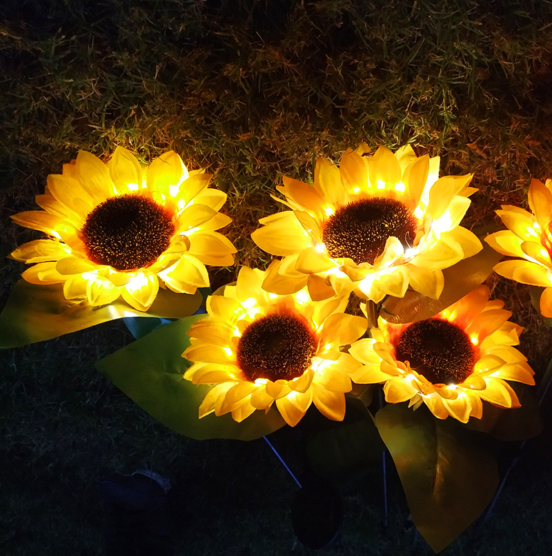 Sunflowers Lawn Lamp Solar Energy LED IP65 Waterproof Simulation Flowers Shaped Villa Courtyard Garden Decoration Outdoor Lamps