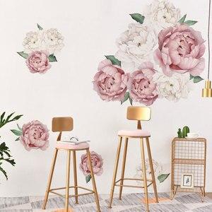 Image 2 - Adesivos de parede peônias rosas e brancas, decoração em aquarela para quarto de crianças, sala de estar, casa, decalque de parede, floral, home decor