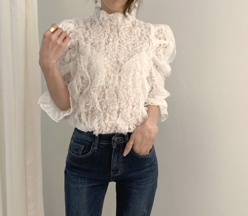 H4248b316b2d74ec4a7b772f54c3a565fv - Spring / Autumn Stand Collar Puff Sleeves Mesh Lace Crochet Flower Blouse