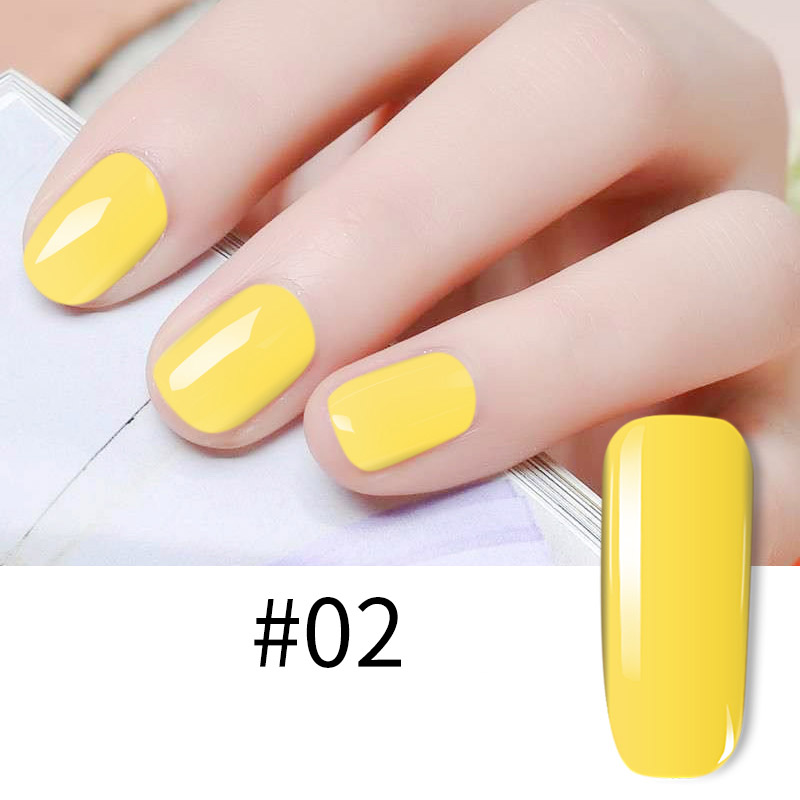 Yellow Color Series UV Gels Nail Polish 2019 New Fashion Women Pure Color Manicure Lacquer for Summer Nail Art in Nail Polish from Beauty Health