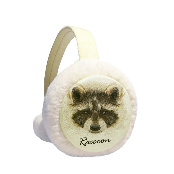 Little Mischievous Brown Raccoon Animal Winter Earmuffs Ear Warmers Faux Fur Foldable Plush Outdoor Gift