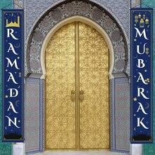Ramadan mubarak porta cortina banner para eid mubarak decoração de casa pendurado bandeira ramadan kareem muçulmano hajj mubarak eid presentes