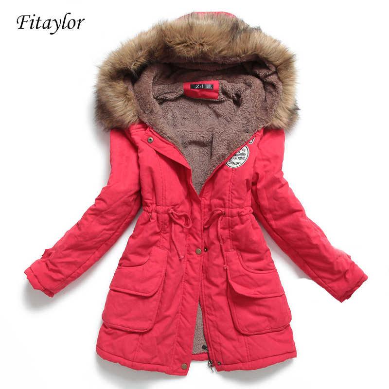 Women Winter Slim Long Cotton Down Coats Padded Jacket Hooded Warm Parka Outwear
