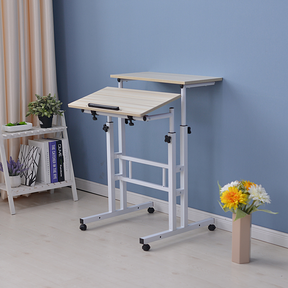 【US Warehouse】Standing Laptop Desk With Mainframe Box 101 Series Upgrade Models White Maple (Computer Desk Table)